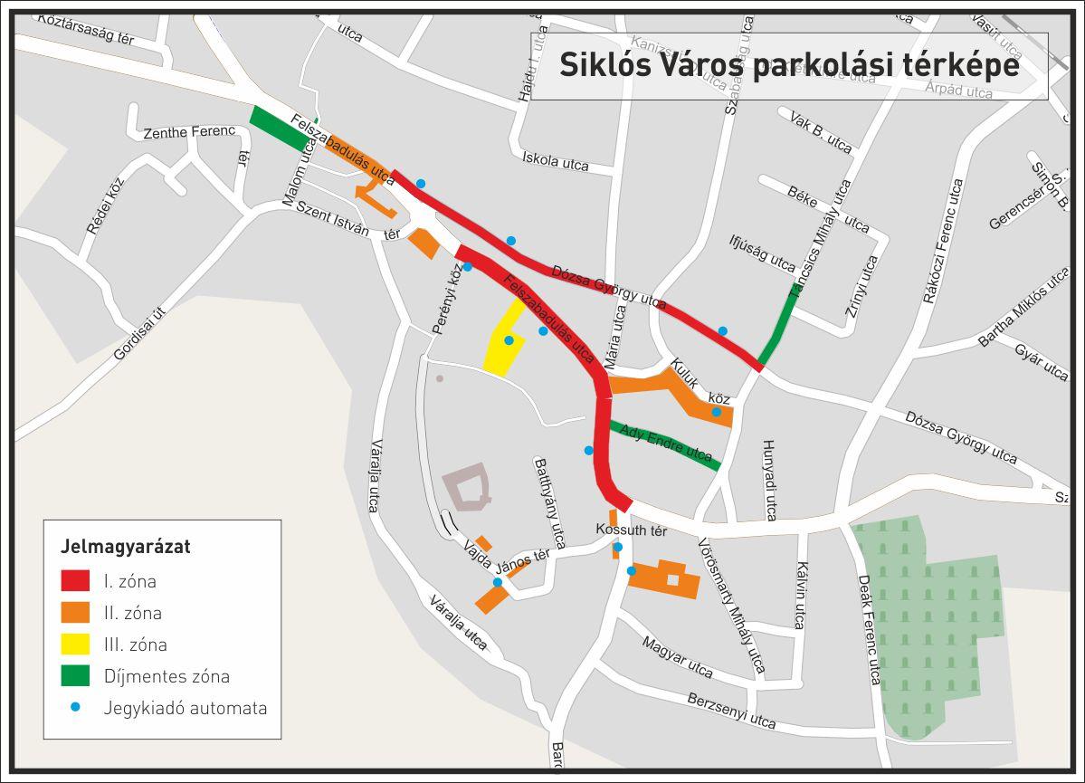 siklós térkép Siklós parkolási térképe siklós térkép
